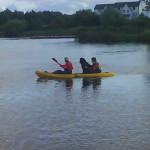 Sanchez in a canoe